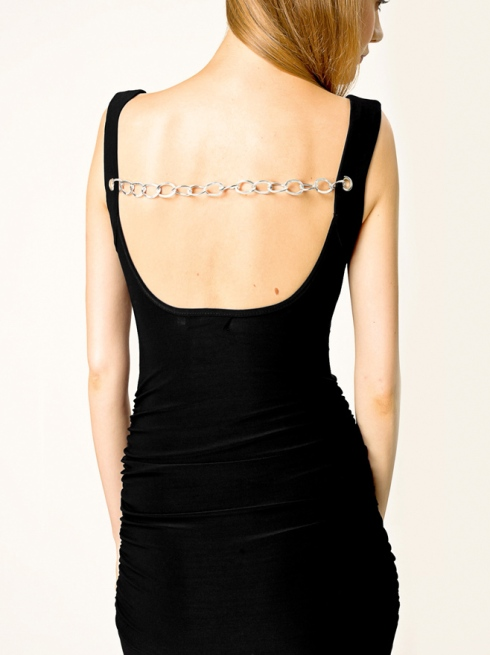 Chain Back Ruched Tank Dress