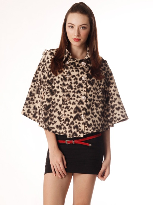 Leopard Double Breasted Cape Coat