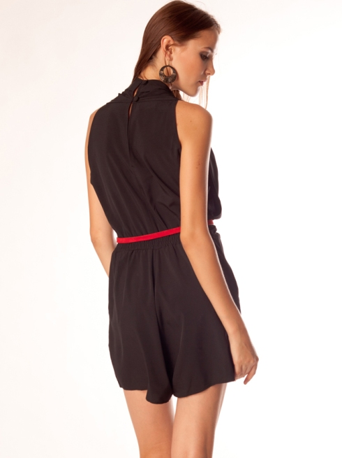 Draped Front Sleeveless Short Jumpsuit